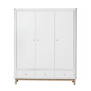 Wood Kleiderschrank 3-türig, weiß/Eiche